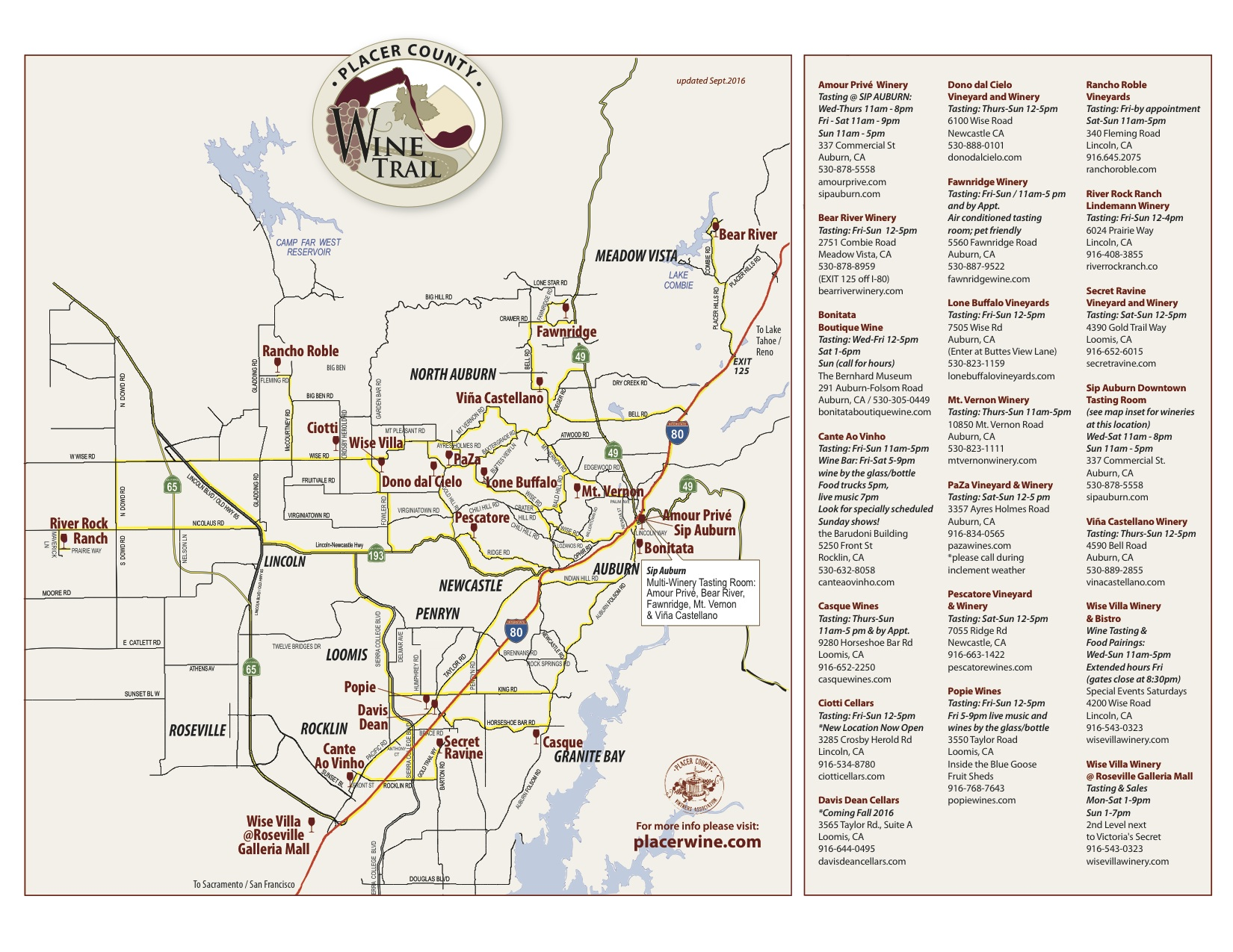 Placer County Wineries Map : Sierra FoodWineArt: A lifestyle ...